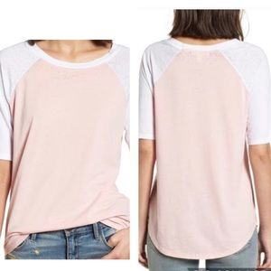 Treasure & Bond Half Sleeve Pink Baseball Tee XS